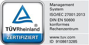 EN 50600 und ISO27001 Logo für die Zertifizierung von conova Rechenzentren Zertifizierung