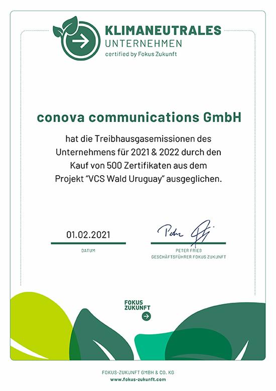 conova kauft als erstes klimaneutrales Rechenzentrum Österreichs 500 Zertifkate für das Projekt Aufforstung VCS Wald Uruguay zur Verbesserung der CO₂ Bilanz