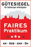 Gütesiegel für Salzburger Arbeitgeber Faires Praktikum conova - Karriere für Mitarbeiter
