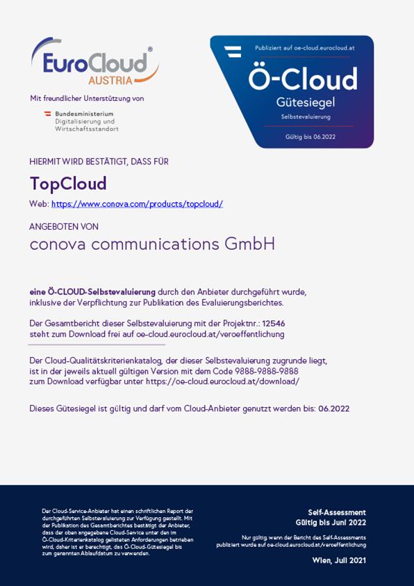 Ö-Cloud Zertifikat conova