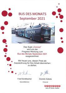 conova obus des monats september Salzburg progress Werbung